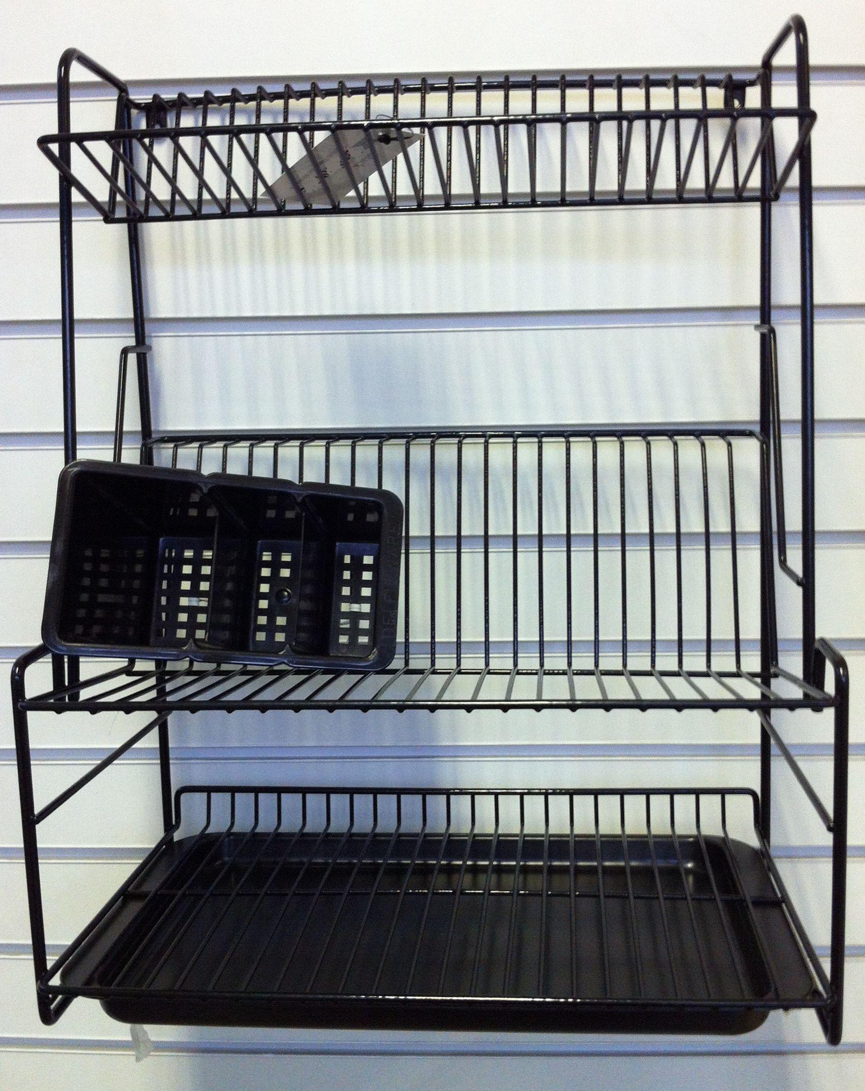 Black Plastic Coated Three Tier Dish Drainer
