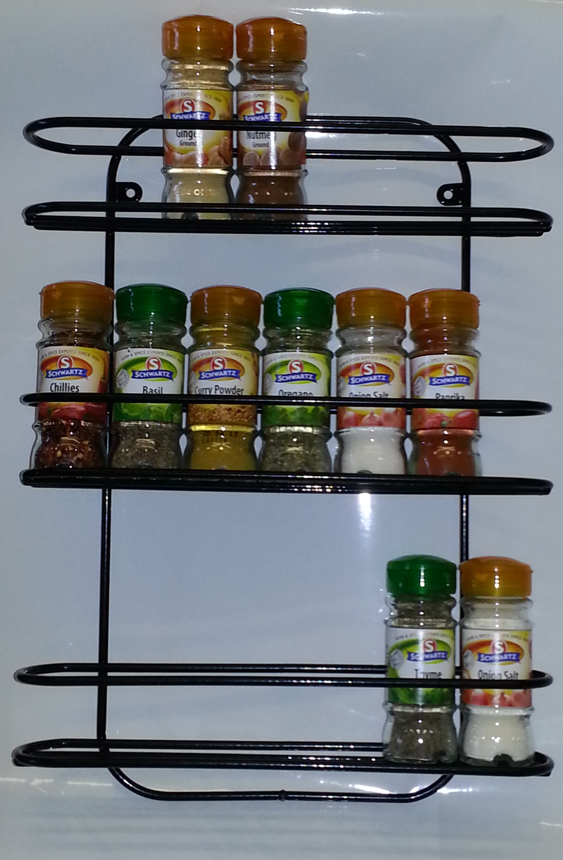 Black Plastic Coated Wall Mounted Spice Rack