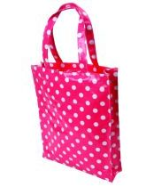 Pink Polka PVC Shopping Bag