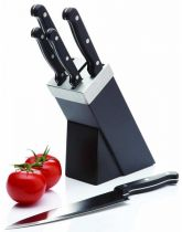 Five Piece Knife Set and Black Wooden Block