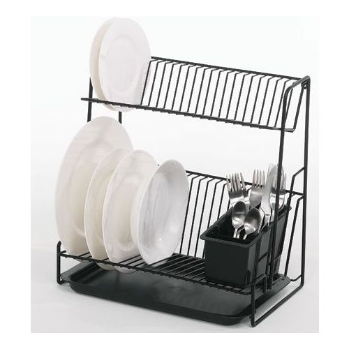 Black two tier dish drainer - Dish racks for small spaces set ...