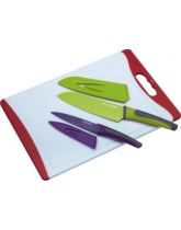 Colourworks 3 Piece Knife & Chopping Board Set