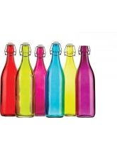 Colourworks Coloured 1 Litre Glass Storage / Water Bottles