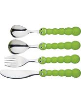 Let's Make Four Piece Children's Stainless Steel Caterpillar Cutlery Set