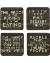 Kitchen Craft Slogan Cork Back Laminated Set of 4 Coasters