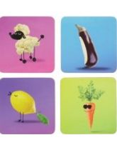 Kitchen Craft Funky Vegetable Cork Back Laminated Set of 4 Coasters