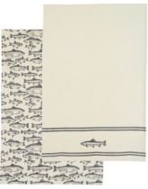 Kitchen Craft Sets of 2 Traditional Fish Patterned Tea Towels