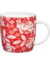 Kitchen Craft Fine Bone China Red Flower Barrel Flute Mug