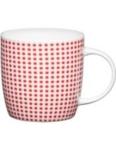 Kitchen Craft Fine Bone China Red Gingham Barrel Flute Mug