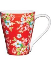 Kitchen Craft Fine Bone China Red Floral Mug