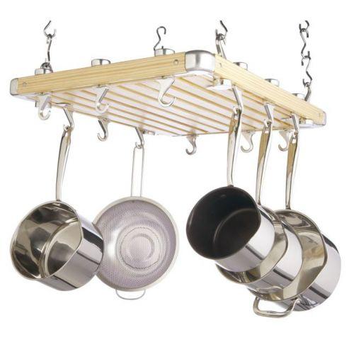 Deluxe multiple bar hanging pot rack 51cm x 49cm for Overhead pots and pans rack